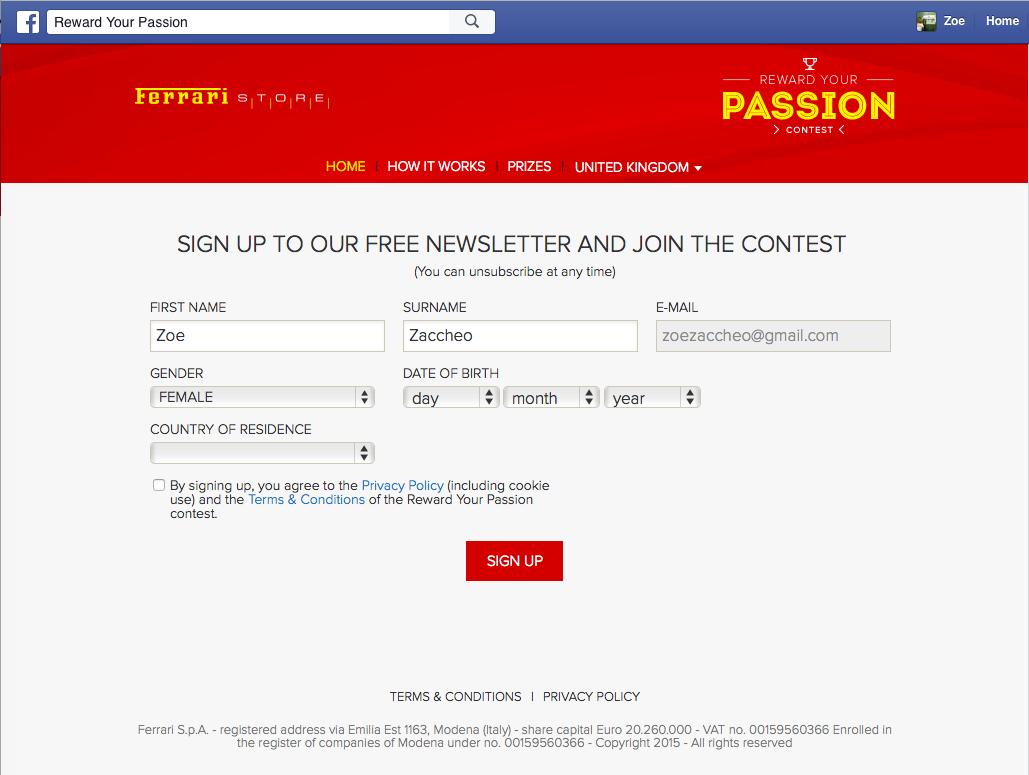 Ferrari contest