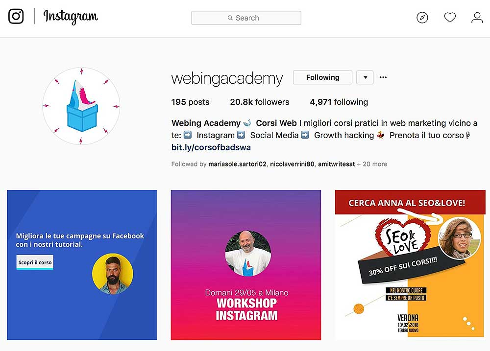 gestione profili instagram aziendali